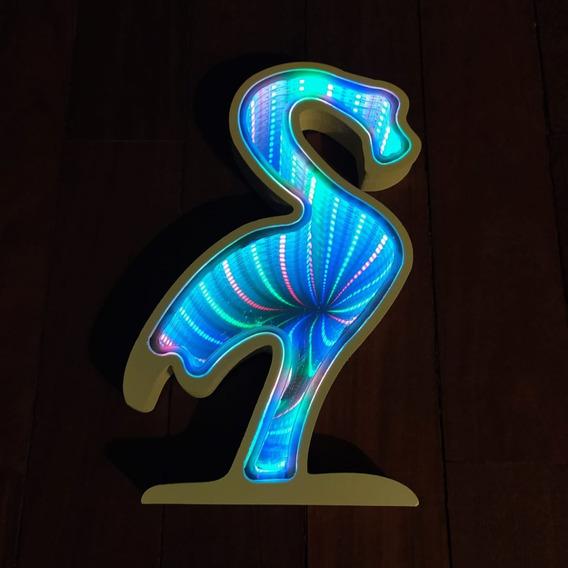 Luminária Abajur Led Flamingo Espelhado Infinito 3d