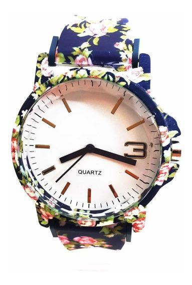 Relógio Feminino Florido Pulseira Silicone Moda Flor
