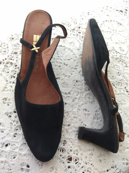 Zapatos Gamuza Talon Descubierto Taco Medio Batistella