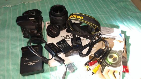 Nikon D5200 Com Lente Completa 3 Baterias