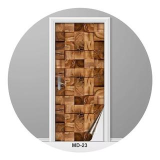 Adesivo Para Porta Madeira Cubos Rústicos Decoração - Md-23