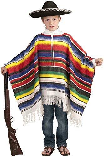 Disfraz De Poncho Mexicano Para Niños Ajuste De Hasta 12