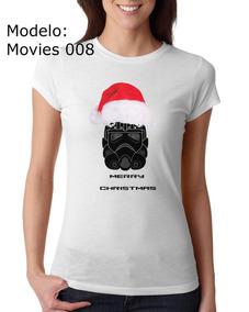 Playera Dama Star Wars 2 Navidad Cuello Redondo