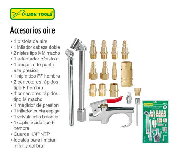 Kit Accesorios Para Compresor Aire Taller Juego 17 Piezas