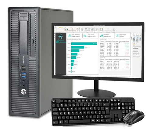 Computador Completo Hp I7 8gb Ssd480gb Monitor 19 Elitedesk