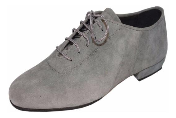 Zapatos De Baile Hombre Tango Salsa Rock Gamuza Gris Flex