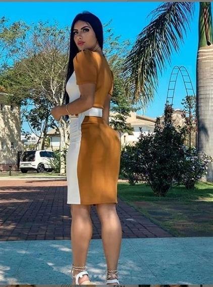 Vestido Mid Casual Manguinha Bicolor Feminino Evangélico #rf