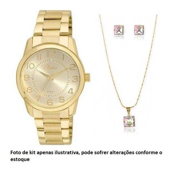 Relógio Condor Dourado Feminino Kit Folheado Co2039ab/k4d