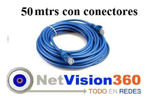 Cable Utp 50 Mts Con Conectores Para Internet Redes Cctv