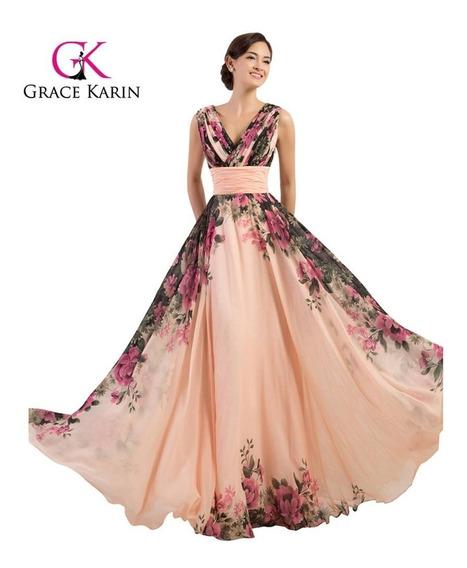Vestido Floral Grace Karin Importado Fiesta Noche Dama