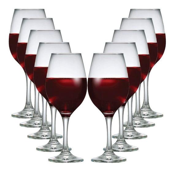 Kit Com 12 Taças De Vidro Para Vinho Tinto