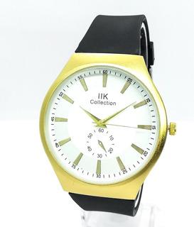 Reloj Negro Con Dorado Para Hombre, Pulso En Goma