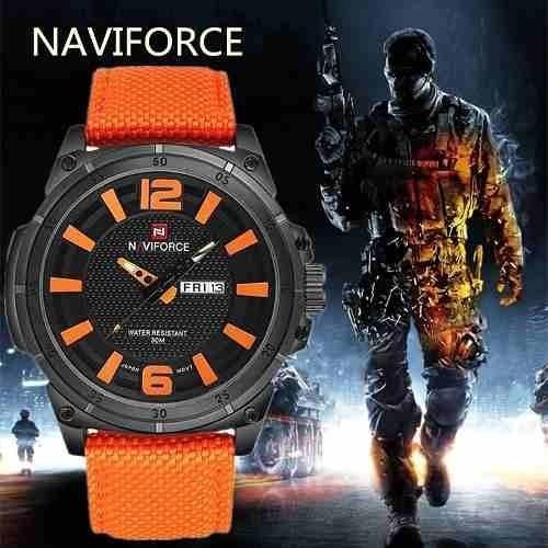 Relógio Naviforce Em Nylon Original Laranja