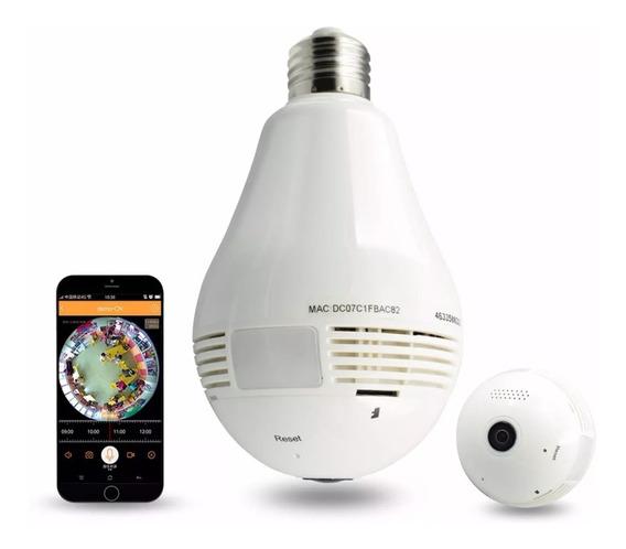 Lâmpada E Alarme Com Câmera Ip Wifi Panorâmica 360ºgraus