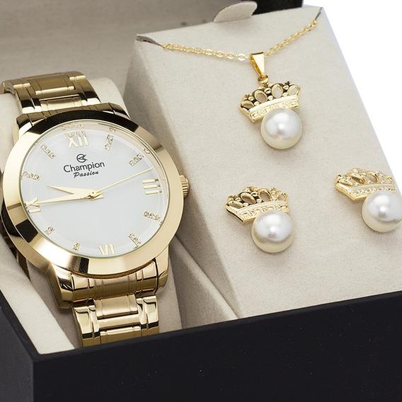 Relógio Champion Feminino Original Dourado + Corrente Brinco