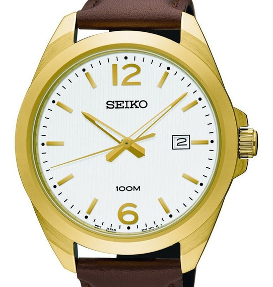 Reloj Hombre Seiko Sur216p1 Cuarzo Acero Con Piel