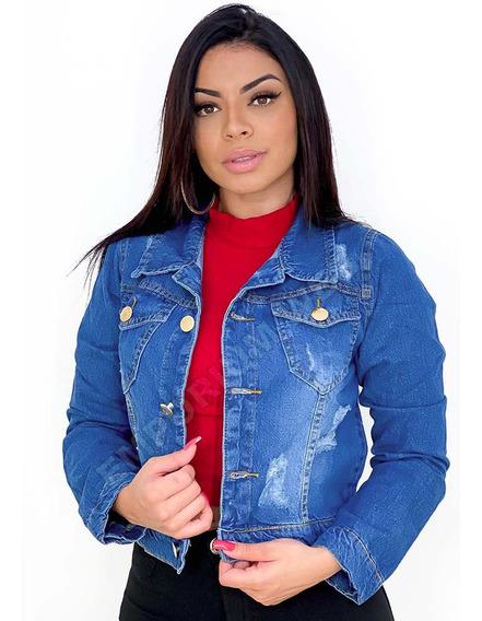Jaqueta Jeans Feminina Curta Cropped Destroyed Preço Atacado