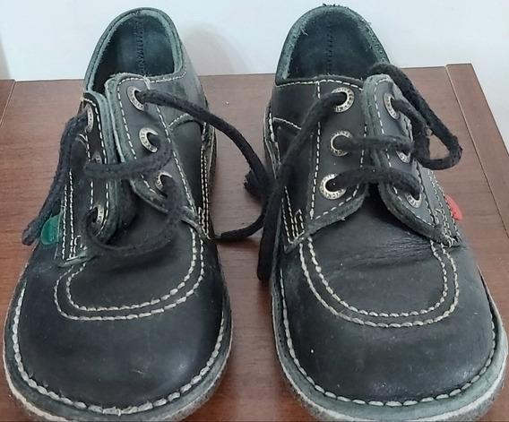 Zapatos Kickers Colegiales Usado Color Azul Varon Talle 30