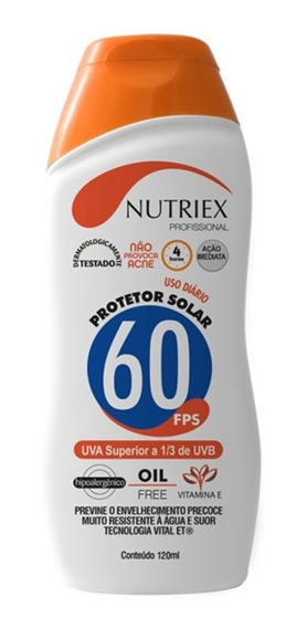Protetor Solar Fps 60 120 Ml 1/3 Uva Nutriex