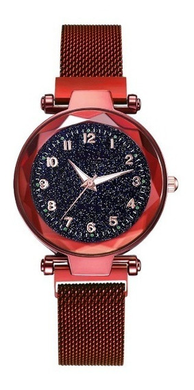 Relógio Feminino Novo Original Universo Pulseira Ímã Barato
