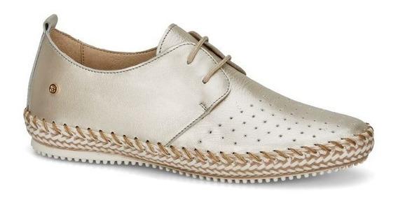 Cómodos Zapatos De Piso Andrea Dorados Color Oro De Piel