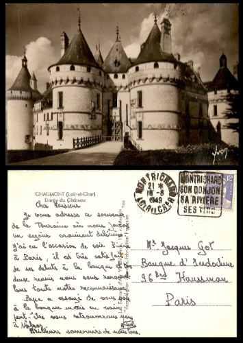 Francia 1949 Postal Del Castillo De Chaumont Con Sello