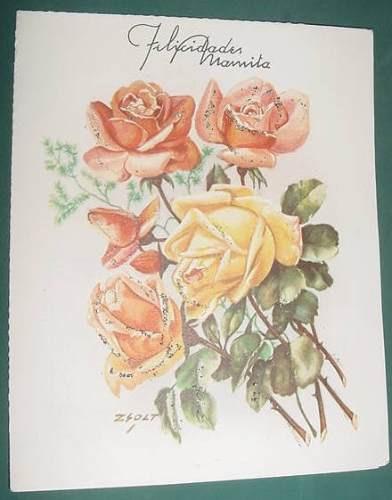 Vintage Tarjeta Troquelada Rosas Felicidades Mamita Zsolt