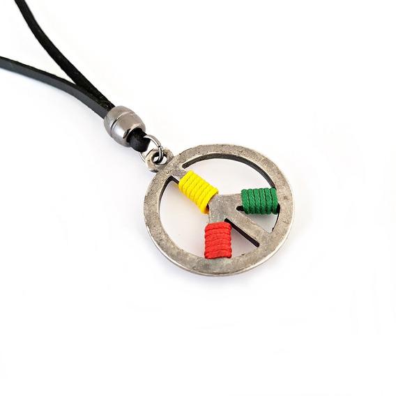 Colar Cordão Masculino Couro Simbolo Da Paz Rock Hippie