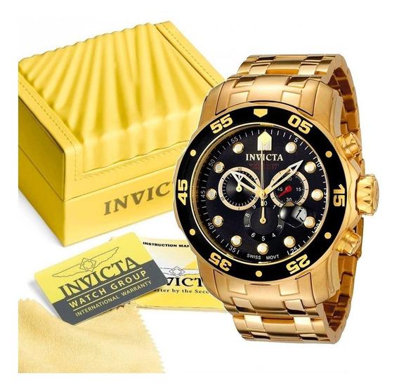 Relógio Relogio Invicta Pro Diver 0072 Banho Ouro 18k Origin