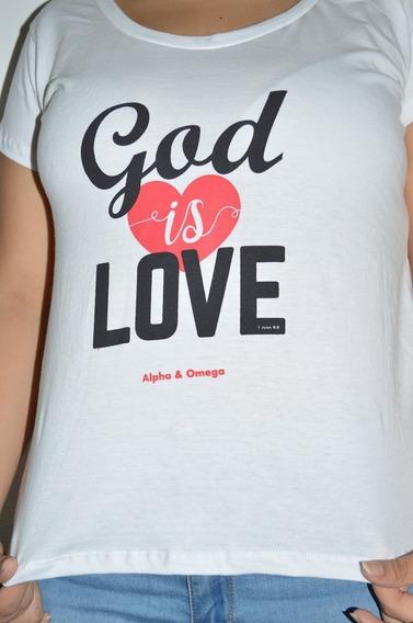 Remera Mujer Algodón Peinado God Is Love - Por Mayor