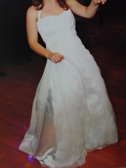 Vestido De 15 O Novia Blanco Doble Falda, Drapeado, Bordado
