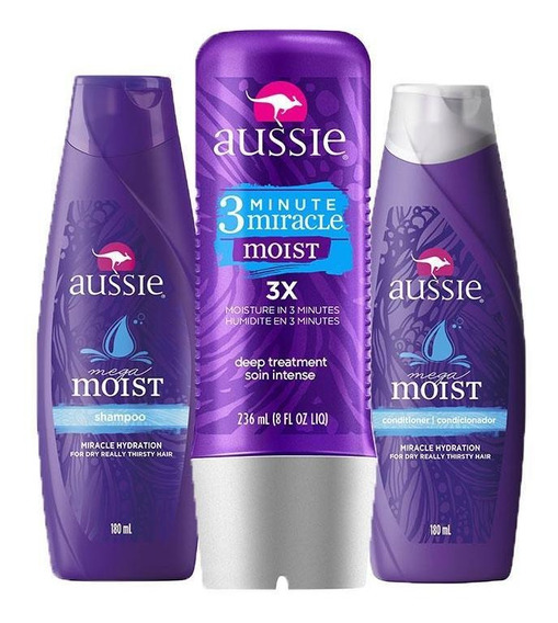 Kit Aussie Moist: Shampoo + Condicionador 180ml + Tratamento