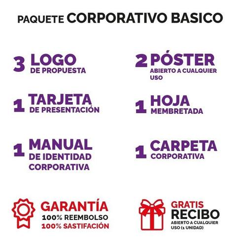 Diseño Grafico Identidad Corporativa 3logo+ Hoja+ Carpeta...