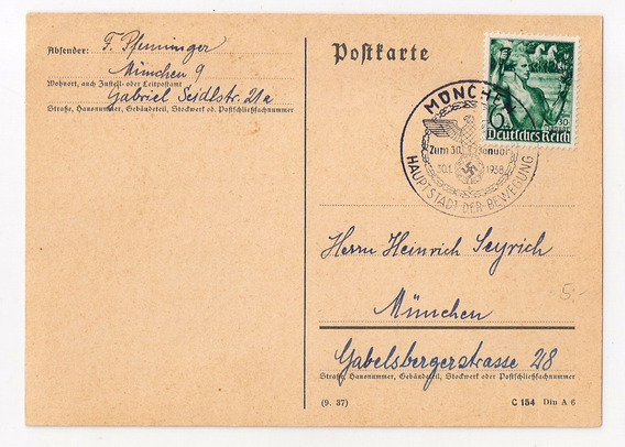 Alemania Reich Tarjeta Postal Desde Múnich 1938