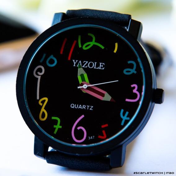 Relógio Feminino Yazole Promoção Pulseira Couro Barato Novo