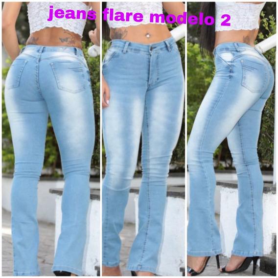 Calça Jeans Feminina Cintura Alta Lycra Levanta Bumbum Flare