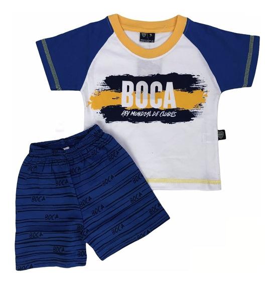 Pijama Boca Juniors De Bebé Verano Con Licencia Oficial