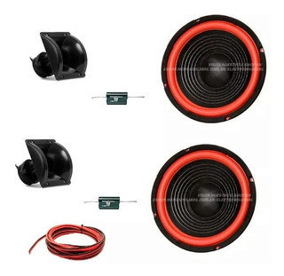 Woofer 8 Blue Force+ Tweeter X 2 200 Watts Capa Cable Combo