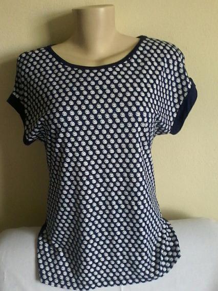 Blusa Camiseta Feminina Azul E Branco Malha Manga Curta