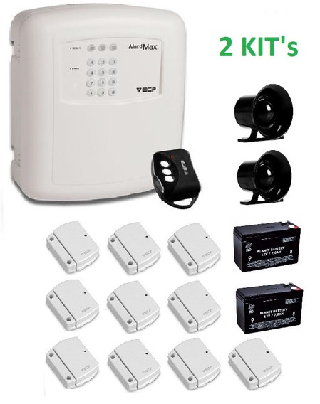 Kit Alarme Ecp Alardmax 2 Bateria Sirene Sensores Sem Fio