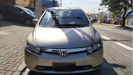 Honda Civic Lxs 1.8 Automático Completo 2007 Banco De Couro
