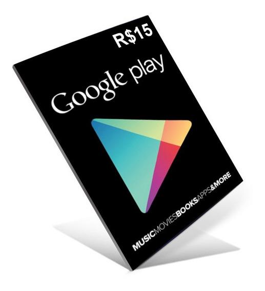 Cartão Google Play Store Gift Card R$15 Reais Brasil Android