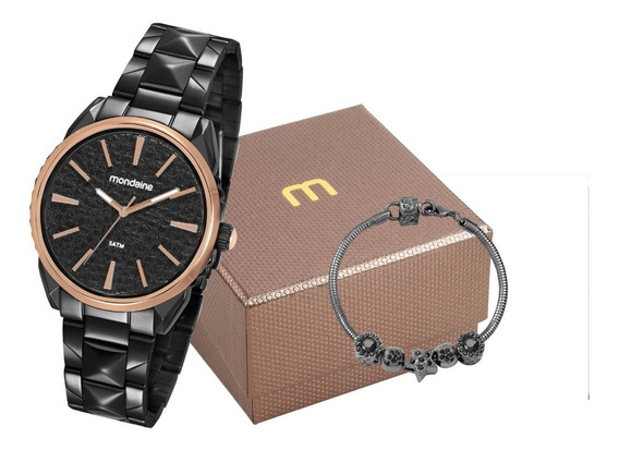 Kit Relógio Feminino Mondaine Preto 53752lpmvpe2k1