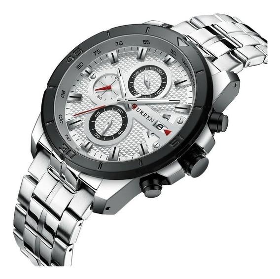 Relógio Masculino Curren 8337 Original Aço Cronógrafo Luxo