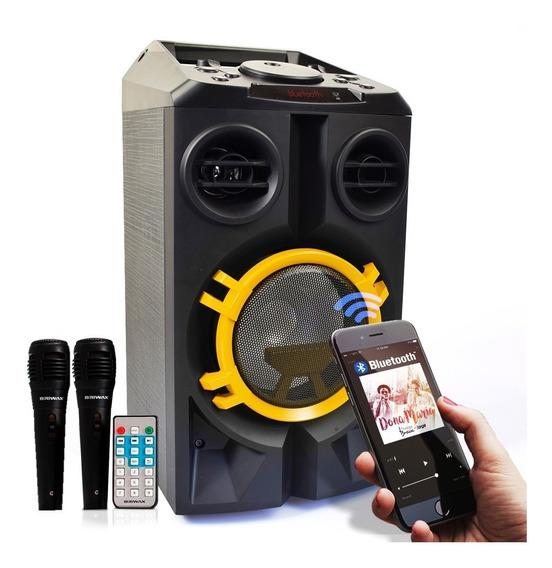 Caixa Som Bluetooth Portátil Amplificada Mp3 Usb 2 Microfone