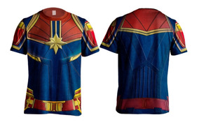 Camiseta Camisa Uniforme Capitã Marvel