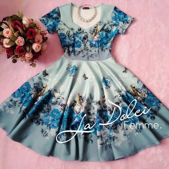 Vestido Godê Midi Jardim Encantado Azul