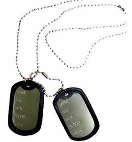 Kit 5 Correntes Militar Com 2 Placas Identificação Exercito