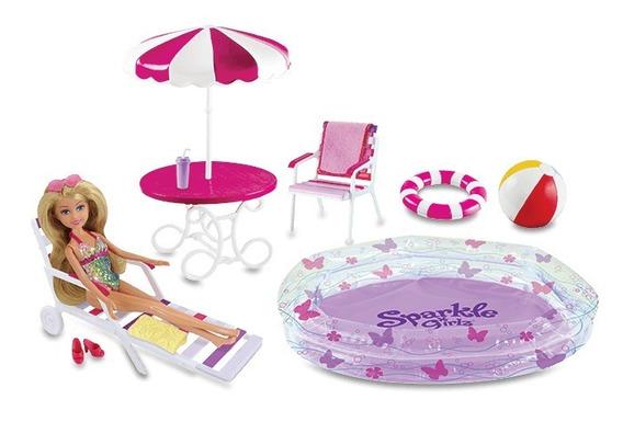 Boneca Sparkle Girlz Articulada - Festa Na Piscina 12pç- Dtc