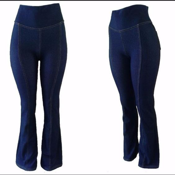 Calça Flare Imita Jeans Ideal Para Gestantes Gravidas